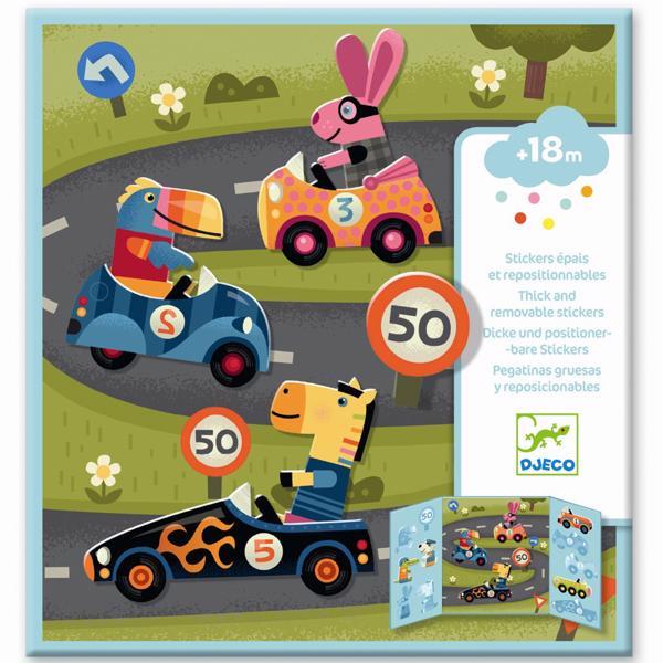 Djeco Klistermærker Genanvendelige Biler