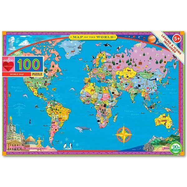 Eeboo Puslespil 100 Brikker - Verdenskort