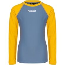 hummel-badebluse-badetoej-swim-wear-blouse-yellow-gul-blue-blaa
