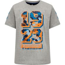 hummel-t-shirt-tee-grey-melange-graa-orange