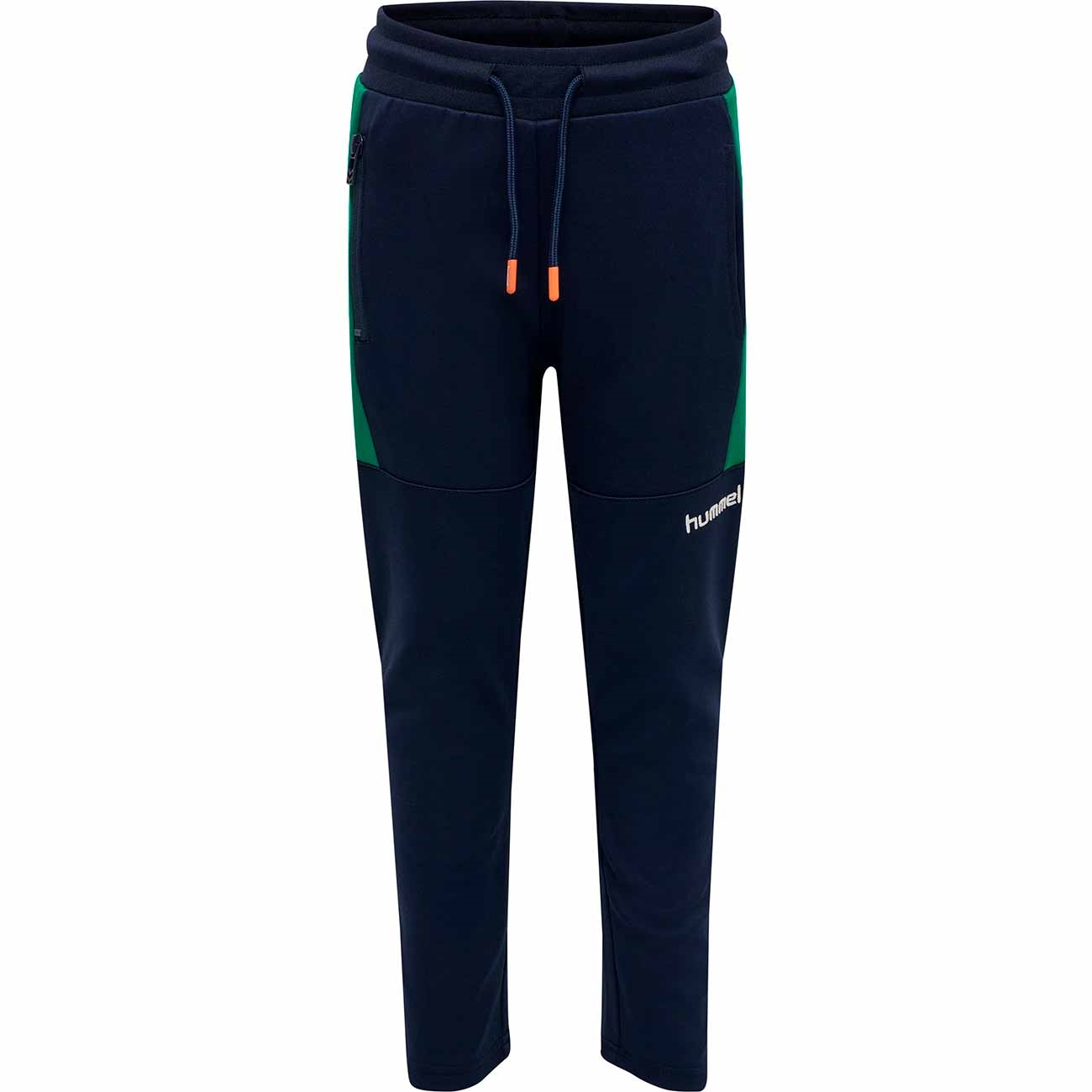 hummel-pants-bukser-black-iris-dark-blue-moerkeblaa-orange-green-groen