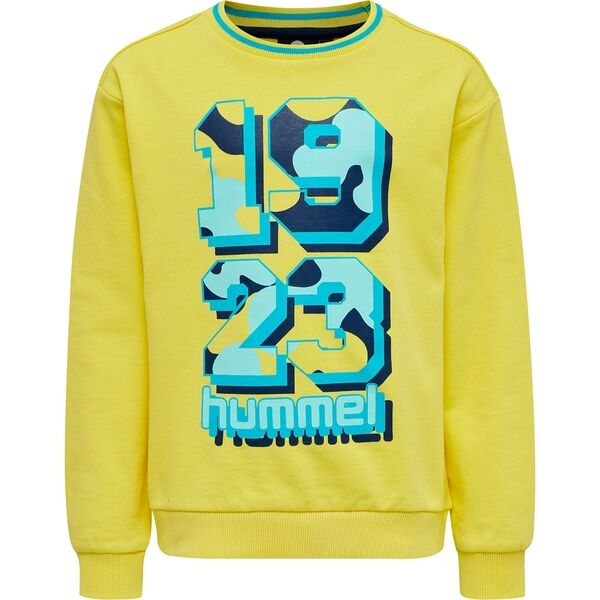 hummel-sweatshirt-blouse-bluse-yellow-gul-blue-blaa-number-nummer