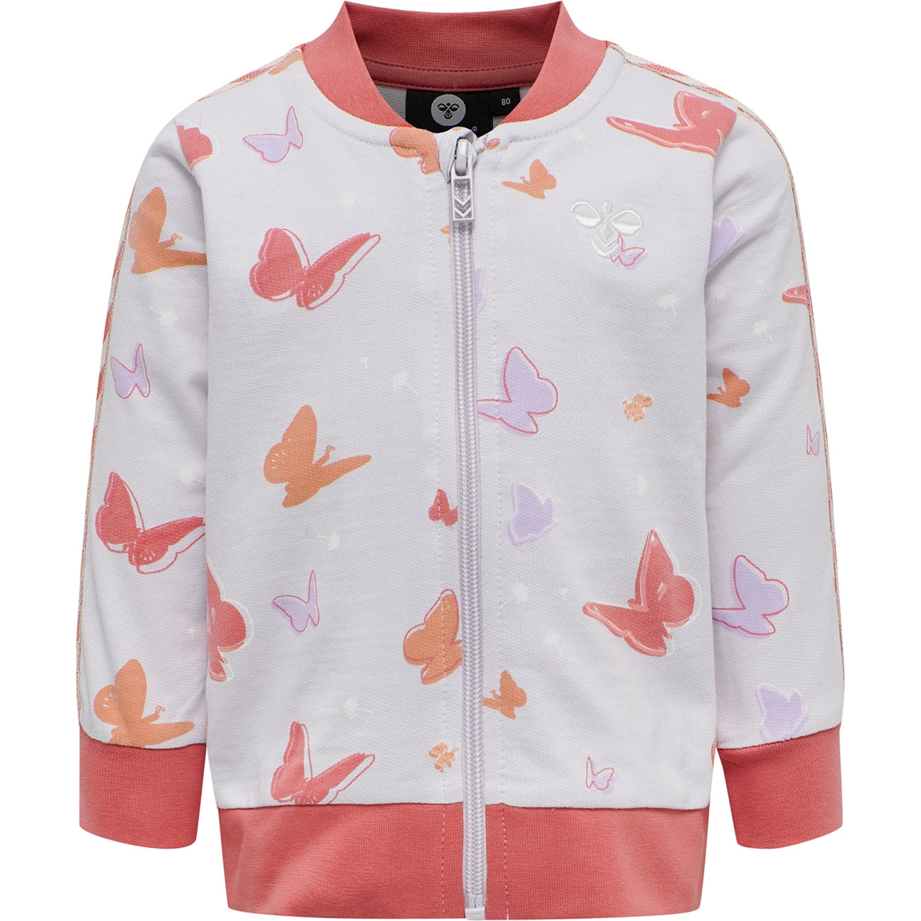 hummel-jacket-jakke-cardigan-red-roed-orange-purple-lilla-sommerfugle-butterfly