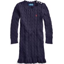 Polo Ralph Lauren Girl Cable Knit Sweater Dress Navy