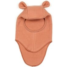 Huttelihut-teddy-elefanthue-balaclava-bomuld-fleece-rabbit-ears-kaninoerer-terracotta-red-roed