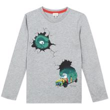 paul-smith-bluse-blouse-grey-graa-dino-car-bil-gorilla