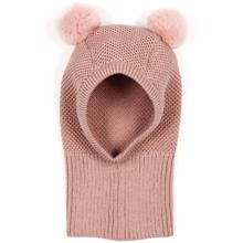 Huttelihut-Knotty-single-layer-hat-fake-fur-pom-pom-dusty-rose-rosa