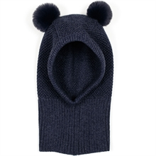 Huttelihut-Knotty-single-layer-hat-fake-fur-pom-pom-navy