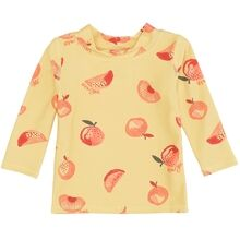 Soft-Gallery-Baby-badebluse-gul-yellow-Astin-Shirt-Jojoba-Aop-Oranges-blomster-flowers