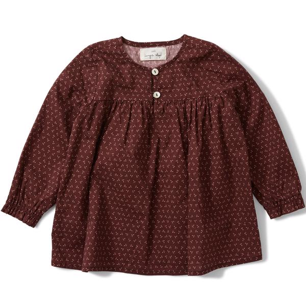 Konges-Sloejd-alma-blouse-bluse-tiny-clover-maroon-red-roed