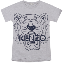 Kenzo-kjole-dress-navy-blue-blaa-logo-grey-graa-melange-logo-tiger