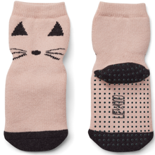 Liewood-cat-socks-stroemper-rose-black-sort