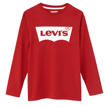 N91005H-03-Levis-tshirt-bluse-blouse-red-roed-white-hvid-logo-print