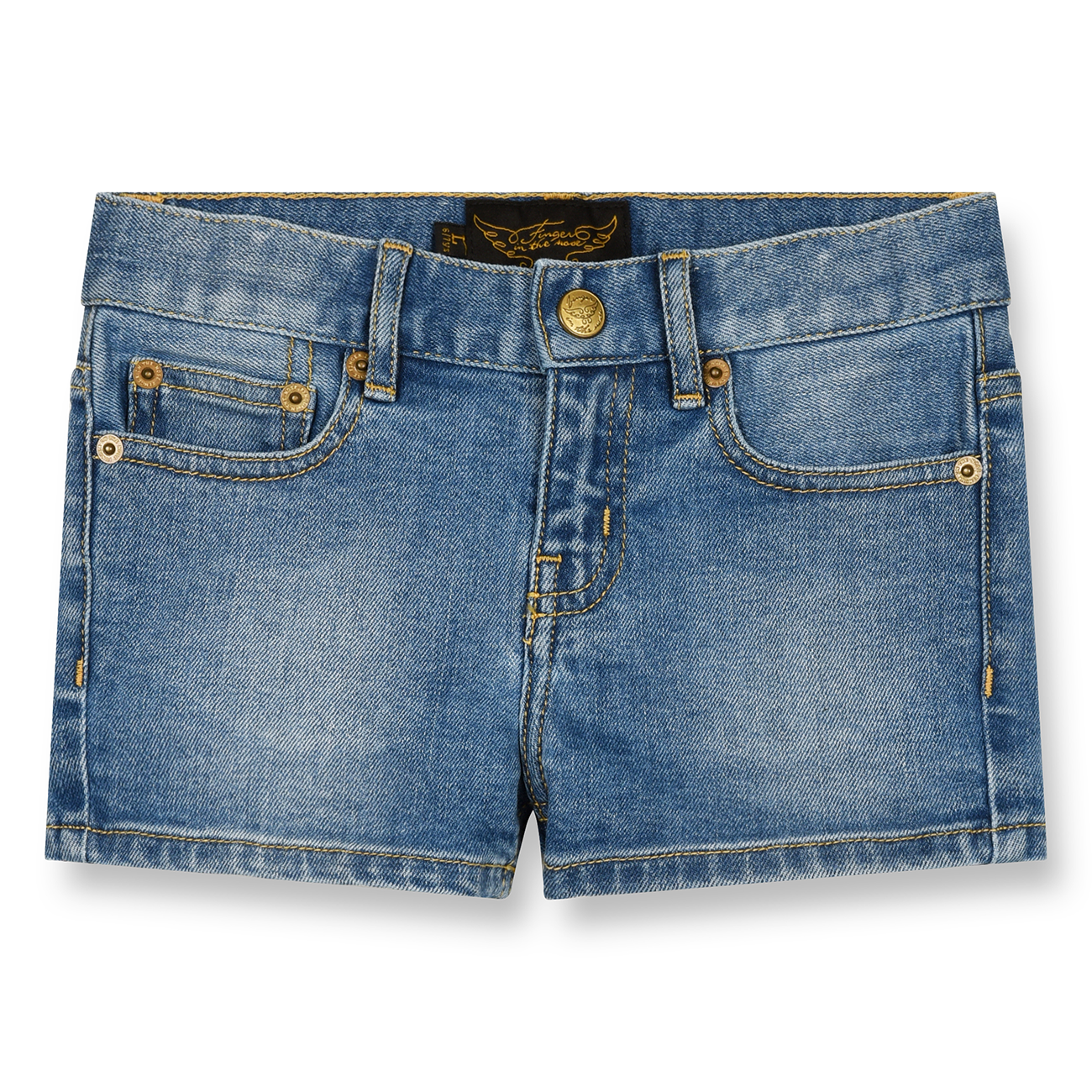 Finger In The Nose Nova Woven 5 Pockets Mini Shorts Blue Denim