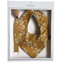 homeyness-mustard-blomsterprint-bib-hagesmaek-salvesmaek-gift-box-gaveaeske-suttesnor