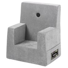 By KlipKlap KK Kids Chair Velvet Argent Grey w. Dark Grey Buttons
