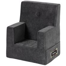 By KlipKlap KK Kids Chair Velvet Anthracite Grey w. Dark Grey Buttons