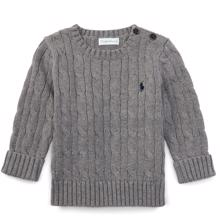 Ralph Lauren Baby Boy Long Sleeved Cable Knit Sweater Boulder Grey Heather