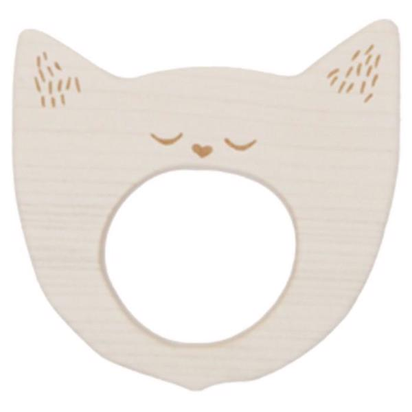 Wooden Story Teether Yawning Cat