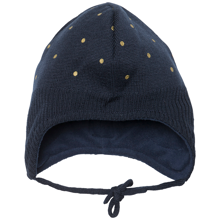 miniature-hue-hat-knit-strik-navy-guld-prikker-gold