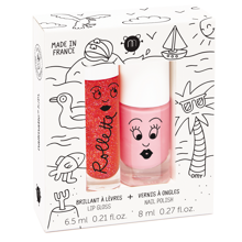 nailmatic-kids-holidays-duo-pack-cookie-strawberry-neglelak-nailpolish-lipgloss-laebeglans-pink-red-roed-med-glimmer-with-glitte
