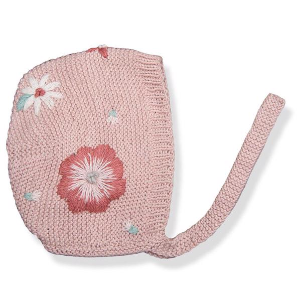 Shirley Bredal Flora Summer Bonnet Dusty Pink With Floral Embroidery