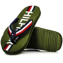 Tommy Hilfiger Maxi Lettering Print Flip Flops Military Green